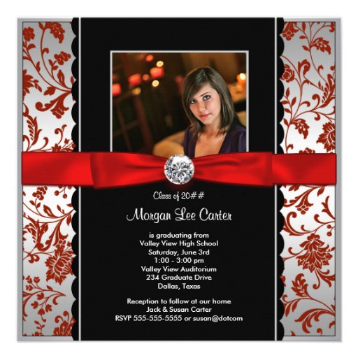 Girls Red and Black Photo Graduation Announcem Announcements
