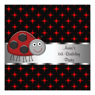 Girls Red Ladybug Birthday Party Personalized Invites