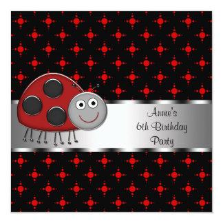 "Girls Red Ladybug Birthday Party 5.25"" Square Invitation Card"