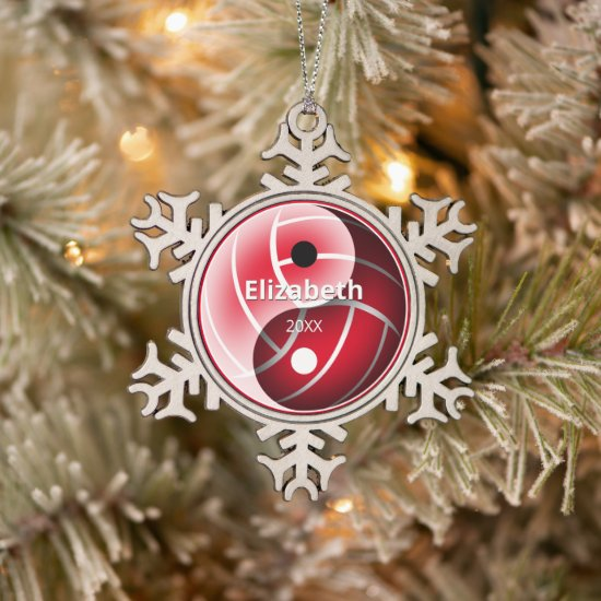 girls red or ANY color yin yang volleyball Snowflake Pewter Christmas Ornament