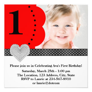 Girls Red Photo Birthday Party Invitations
