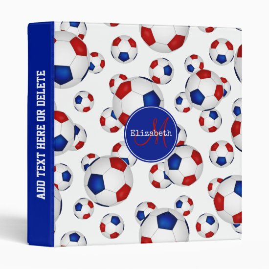 girl's red white and blue soccer balls pattern 3 ring binder