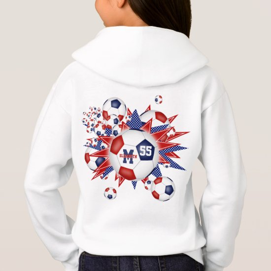 girls red white blue soccer ball blowout hoodie