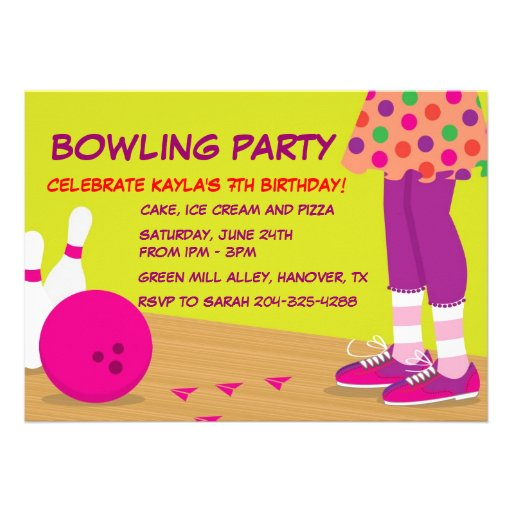 Personalized birthday bowling invitations custominvitations4u girls retro bowling birthday party invitations filmwisefo