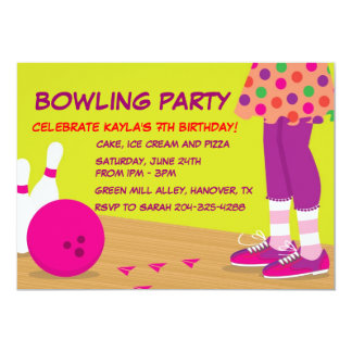 Girl's Retro Bowling Birthday Party Invitations