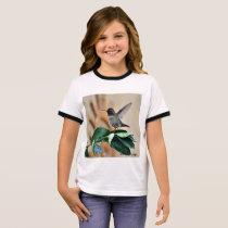 Girl's Ringer Tee Shirt - Baby Hummer on Leaf