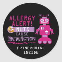 Girls Robot Tree Nut Peanut Allergy Alert Classic Round Sticker