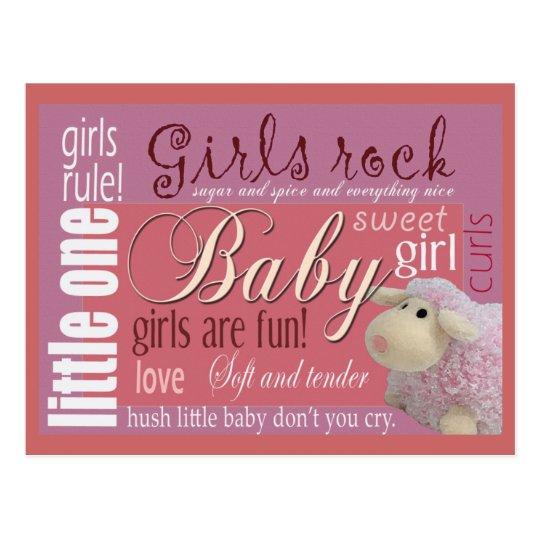 Girls rock baby shower postcard