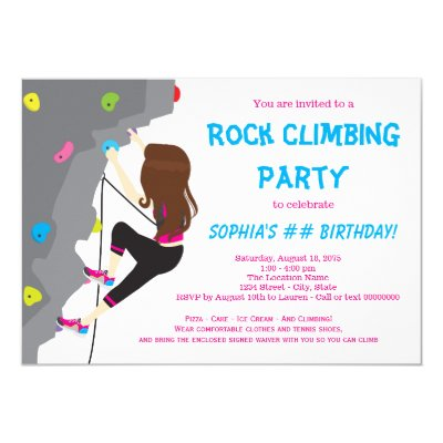 Girls Rock Climbing Birthday Party Invitations Zazzlecom