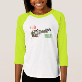 Girls Rock Guitar Funny Cool Lime Green Raglan Top