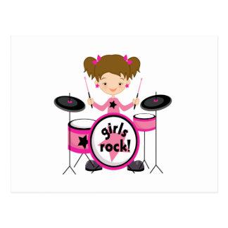 Girls Rock on Drums Postcard