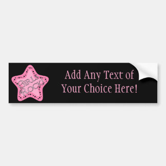 Girls Rock Pink Star Bumper Sticker