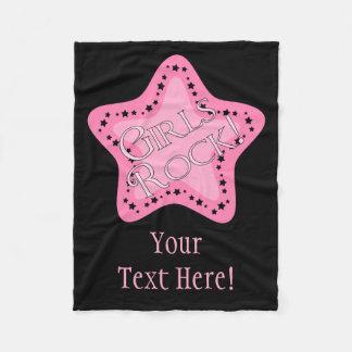 Girls Rock Pink Star Fleece Blanket