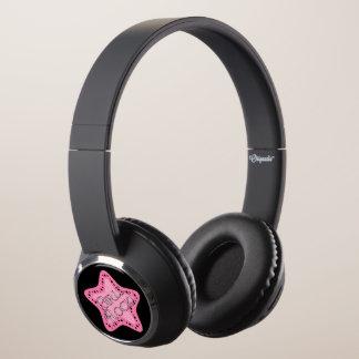 Girls Rock Pink Star Headphones