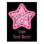 Girls Rock Pink Star Postcards