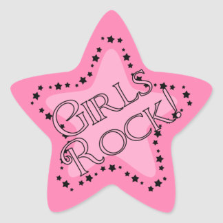 Girls Rock Pink Star Star Sticker