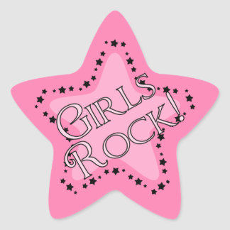 Girls Rock Pink Star Star Sticker