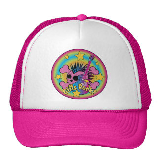 Girls Rock Skull & Crossbones Mesh Hat