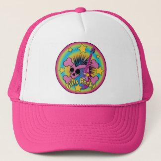 Girls Rock Skull & Crossbones Trucker Hat