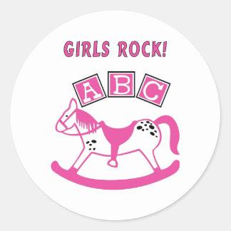 Girls Rock Round Stickers