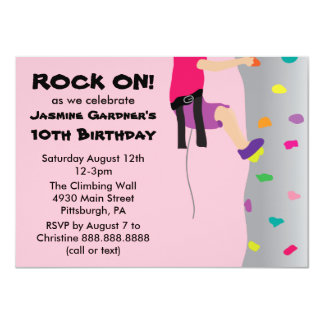 Girl's Rock Wall Climbing Birthday Party Card