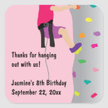 Girl's Rock Wall Climbing Birthday Party Favor Square Sticker
