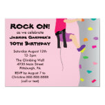 Girl's Rock Wall Climbing Birthday Party 4.5x6.25 Paper Invitation Card