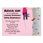 Girl's Rock Wall Climbing Birthday Party 4.5x6.25 Paper Invitation Card