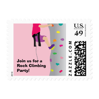 Girl's Rock Wall Climbing Birthday Party Postage Stamps