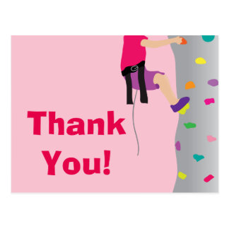 Girl's Rock Wall Climbing Birthday Party Thank You Postcard