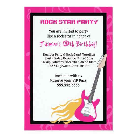 GIRLS ROCKER GUITAR HERO Birthday Party Invitation