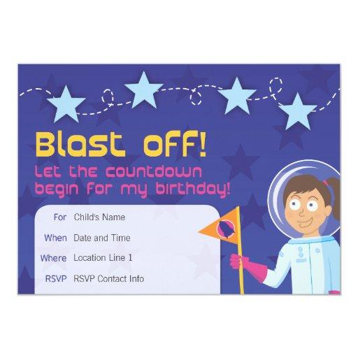Girl's Rocket Ship Party Invitation