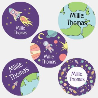 Girls Rocket Ship Space Galaxy Pattern and Name Kids' Labels