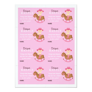 Girls Rocking Horse Diaper Raffle Personalized Announcements