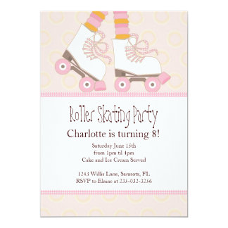 Girls Roller Skating Themed Party Invitations