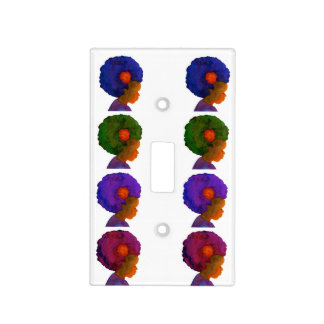 Girls Room decor switch plate silhouette afros