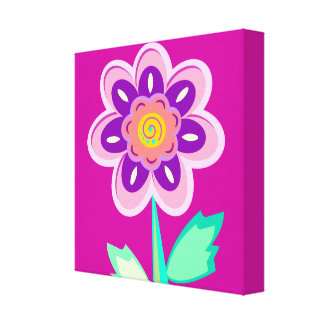 girl's room, flower,edit background color canvas print