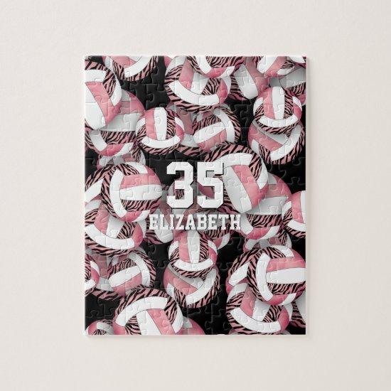 Girls rose gold pink w zebra stripes volleyballs jigsaw puzzle