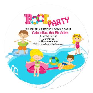 Girl's Round Pool Party Birthday Invitation