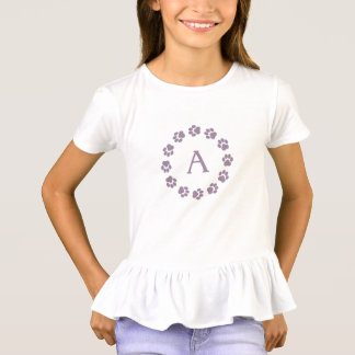 Girls' Ruffle T-Shirt with Paw Prints and Monogram