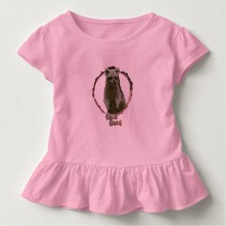 Girls ruffled raccoon top. toddler t-shirt