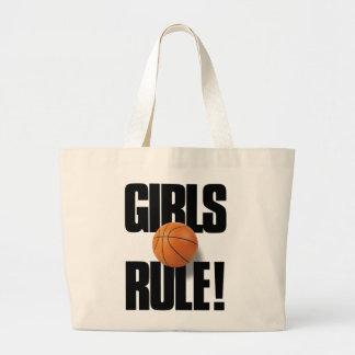 GIRLS RULE! Basketball Large Tote Bag