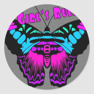 Girl's Rule Butterfly Stickers
