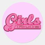 Girls Rule Classic Round Sticker