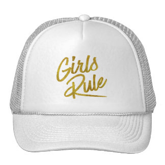Girls Rule Gold Faux Foil Metallic Glitter Quote Trucker Hat