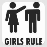 Girls Rule Square Sticker