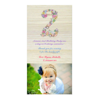 Girls Rustic 2nd Birthday Floral Thank You Photo Photo Card Template