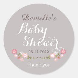 Girls Rustic Floral Baby Shower Favor Sticker