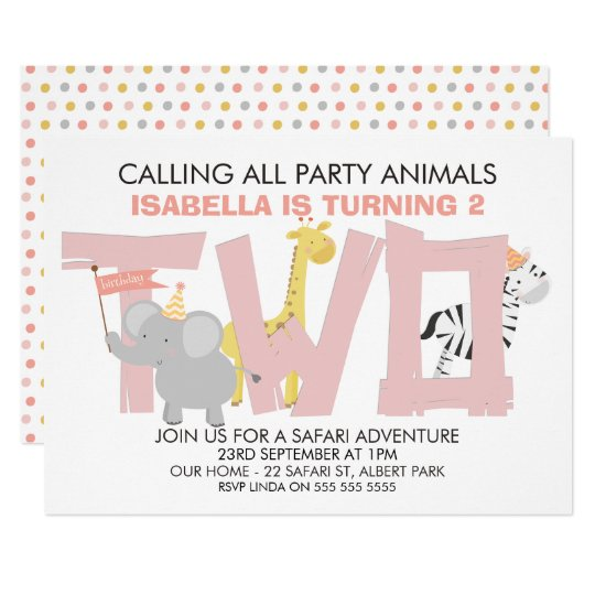 Girls Safari Animals 2nd Birthday Party Invitation