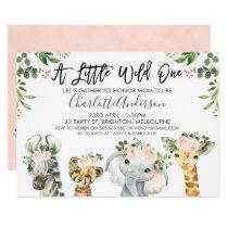 Girls Safari Animals Baby Shower Invitation